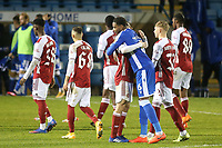 Zech Medley of Gillingham, currently on loan from Arsenal, embraces Joel Lopez of Arsenal at the end of the match during Gillingham vs Arsenal Under-21, Papa John's Trophy Football at the MEMS Priestfield Stadium on 10th November 2020