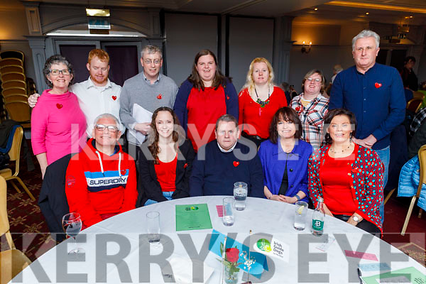 The staff of Rehab supporting the Irish Guide Dogs night in the Meadowlands Hotel on Friday night<br /> Seated l to r: Mark O'Brien, Joanne Williams, PJ Fleming, Cathy Cooley and Jane O'Donoghue.<br /> Back l to r: Mary Duggan, Johnny Prendergast, Richard Smith, Tracy Cronin, Rebecca O'Donoghue, Patricia Cronin and Edmund Quirke.