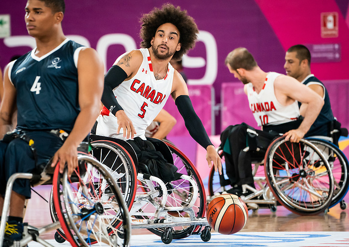 Deion Green, Lima 2019 - Wheelchair Basketball // Basketball en fauteuil roulant.<br /> Men's wheelchair basketball takes on Colombia in the semifinal game // Le basketball en fauteuil roulant masculin affronte la Colombie en demi-finale. 30/08/2019.