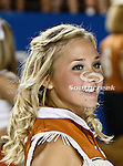 Texas Longhorns cheerleaders in action during the game between the Brigham Young Cougars and the Texas Longhorns at the Darrell K Royal - Texas Memorial Stadium in Austin, Texas. Texas defeats Brigham Young 17 to 16..