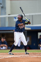 Elias Arias (39) of the Danville Braves at bat against the Pulaski Yankees at American Legion Post 325 Field on July 31, 2016 in Danville, Virginia.  The Yankees defeated the Braves 8-3.  (Brian Westerholt/Four Seam Images)