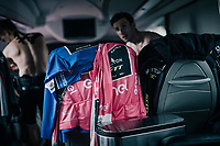 abundance of pink and blue shirts in the Mitchelton-Scott teambus<br /> <br /> stage 20: Susa - Cervinia (214km)<br /> 101th Giro d'Italia 2018