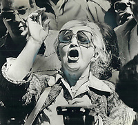 1979 FILE PHOTO - ARCHIVES -<br /> <br /> Clark; Joe (election campaign 1979)<br /> <br /> Violet Anderson in full cry<br /> <br /> <br /> Bezant, Graham<br /> Picture, 1979, <br /> <br /> 1979,<br /> <br /> PHOTO : Graham Bezant - Toronto Star Archives - AQP