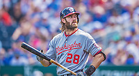 25 August 2013: Washington Nationals outfielder Jayson Werth stands on deck during a game against the Kansas City Royals at Kauffman Stadium in Kansas City, MO. The Royals defeated the Nationals 6-4, to take the final game of their 3-game inter-league series. Mandatory Credit: Ed Wolfstein Photo *** RAW (NEF) Image File Available ***