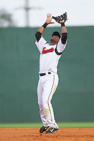 Nashville Sounds second baseman Irving Falu (19) settles under a pop fly during the game against the Oklahoma City RedHawks at Greer Stadium on July 25, 2014 in Nashville, Tennessee.  The Sounds defeated the RedHawks 2-0.  (Brian Westerholt/Four Seam Images)