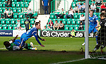 Hibs v St Johnstone.....30.04.11.Kevin Moon scrambles the ball into the net to make it 2-1 to saints.Picture by Graeme Hart..Copyright Perthshire Picture Agency.Tel: 01738 623350  Mobile: 07990 594431