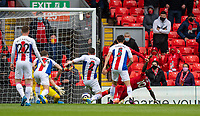 23rd May 2021; Anfield, Liverpool, England; EPL Premier League football, Liverpool versus Crystal Palace:  Liverpool's Sadio Mane scores the first goal in minute 36 during the Premier League match between Liverpool and Crystal Palace at Anfield