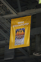 7 April 2008: Stanford Cardinal national championship banners during Stanford's press conference for the 2008 NCAA Division I Women's Basketball Final Four championship game at the St. Pete Times Forum Arena in Tampa Bay, FL.