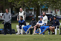 Upminster players look on during Upminster CC (batting) vs Ilford CC, Hamro Foundation Essex League Cricket at Upminster Park on 8th May 2021