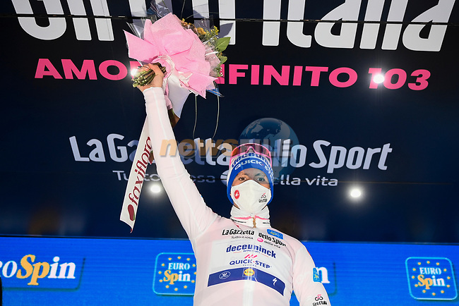 Race leader Joao Almeida (POR) Deceuninck-Quick Step also retains the young riders Maglia Bianca at the end of Stage 12 of the 103rd edition of the Giro d'Italia 2020 running 204km from Cesenatico to Cesenatico, Italy. 15th October 2020.  <br /> Picture: LaPresse/Marco Alpozzi | Cyclefile<br /> <br /> All photos usage must carry mandatory copyright credit (© Cyclefile | LaPresse/Marco Alpozzi)