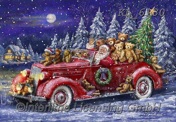 Interlitho-Marcello, CHRISTMAS SANTA, SNOWMAN, WEIHNACHTSMÄNNER, SCHNEEMÄNNER, PAPÁ NOEL, MUÑECOS DE NIEVE, paintings+++++,santa, teddies, car,KL6130,#x#