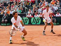 15-09-12, Netherlands, Amsterdam, Tennis, Daviscup Netherlands-Suisse, Doubles, Robin Haase/Jean-Julian Rojer    Roger Federer/Stanislas Wawrinka.