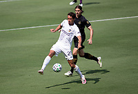 LOS ANGELES, CA - AUGUST 22: Nicholas DePuy #20 of the Los Angeles Galaxy moves to the ball during a game between Los Angeles Galaxy and Los Angeles FC at Banc of California Stadium on August 22, 2020 in Los Angeles, California.