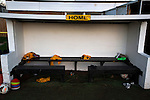 Alvechurch FC 3 Highgate United 0, 26/12/2016. Lye Meadow, Midland Football League Premier Division. The home dugout pictured at half-time at Lye Meadow as Alvechurch hosted Highgate United in a Midland Football League premier division match. Originally founded in 1929 and reformed in 1996 after going bust, the club has plans to move from their current historic ground to a new purpose-built stadium in time for the 2017-18 season. Alvechurch won this particular match by 3-0, watched by 178 spectators, taking them back to the top of the league. Photo by Colin McPherson.