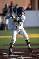 Michigan Wolverines catcher Griffin Mazur (13) at bat during the NCAA baseball game against the Illinois Fighting Illini at Fisher Stadium on March 19, 2021 in Ann Arbor, Michigan. Illinois won the game 7-4. (Andrew Woolley/Four Seam Images)