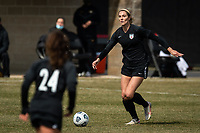 PEORIA, IL - MARCH 13: Kayla Sharples #28 of the Chicago Red Stars plays the ball during a game between Missouri Tigers and Chicago Red Stars at Shea Stadium on March 13, 2021 in Peoria, Illinois.