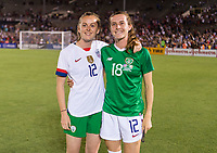 PASADENA, CA - AUGUST 4: Claire Walsh #18 and Tierna Davidson #12 pose during a game between Ireland and USWNT at Rose Bowl on August 3, 2019 in Pasadena, California.
