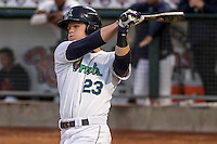 Cedar Rapids Kernels outfielder Austin Diemer (23) at bat during game five of the Midwest League Championship Series against the West Michigan Whitecaps on September 21st, 2015 at Perfect Game Field at Veterans Memorial Stadium in Cedar Rapids, Iowa.  West Michigan defeated Cedar Rapids 3-2 to win the Midwest League Championship. (Brad Krause/Four Seam Images)