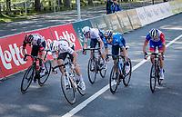 World Champion Julian Alaphilippe (FRA/Deceuninck - QuickStep), Alejandro Valverde (ESP/Movistar), Tadej Pogačar (SVN/UAE-Emirates), Michael Woods (CAN/Israel Start-Up Nation) & David Gaudu (FRA/Groupama - FDJ) sprinting for victory towards the finish line in Liège<br /> <br /> 107th Liège-Bastogne-Liège 2021 (1.UWT)<br /> 1 day race from Liège to Liège (259km)<br /> <br /> ©kramon