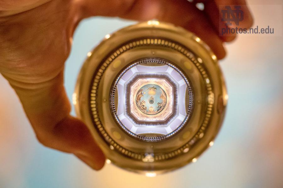 November 16, 2017; Main Building rotunda refracted in a crystal ball. 1 of 12 (Photo by Matt Cashore/University of Notre Dame)