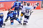 Torjubel bei Leonhard Pföderl (Nr.93 - Eisbären Berlin) und Marcel Noebels (Nr.92 - Eisbären Berlin) nach dem 1:1 Ausgleich, Morgan Ellis (Nr.4 - ERC Ingolstadt) und Justin Feser (Nr.71 - ERC Ingolstadt) beim Spiel im Halbfinale der DEL, ERC Ingolstadt (dunkel) - Eisbaeren Berlin (hell).<br /> <br /> Foto © PIX-Sportfotos *** Foto ist honorarpflichtig! *** Auf Anfrage in hoeherer Qualitaet/Aufloesung. Belegexemplar erbeten. Veroeffentlichung ausschliesslich fuer journalistisch-publizistische Zwecke. For editorial use only.