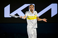 21st February 2021, Melbourne, Victoria, Australia; Daniil Medvedev of Russia shows his frustration after losing a game during the Men's Singles Final of the 2021 Australian Open on February 21 2021, at Melbourne Park in Melbourne, Australia.