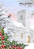 Barry, CHRISTMAS LANDSCAPES, WEIHNACHTEN WINTERLANDSCHAFTEN, NAVIDAD PAISAJES DE INVIERNO, paintings+++++,GBBCCDA1057,#xl# ,red robin,church