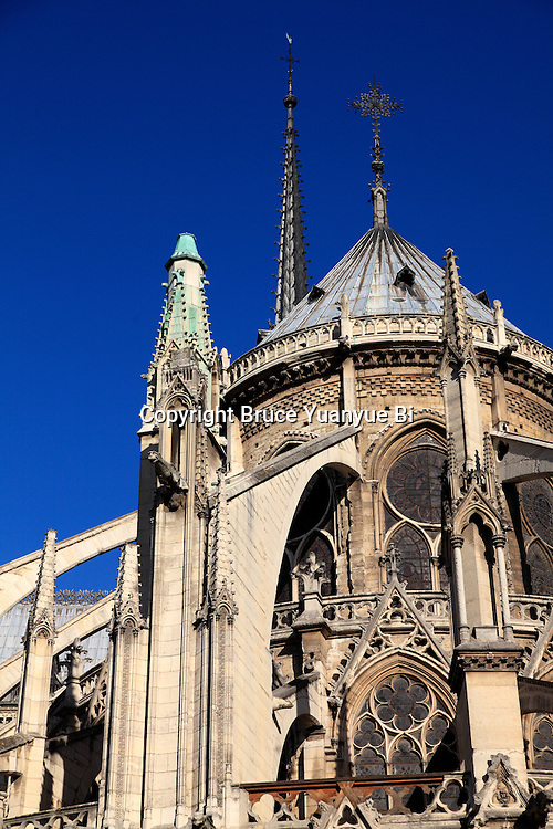 Flying buttresses of Notre Dame cathedral. city of Paris. Paris. France