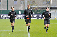 assistant referee Robby Keuleers , referee Simon Bourdeaud Hui , assistant referee Gianni Seeldraeyers pictured before a female soccer game between  AA Gent Ladies and Standard Femina de Liege on the first matchday of play-off 1 of the  2020 - 2021 season of Belgian Scooore Womens Super League , saturday 3 th of April 2021  in Oostakker , Belgium . PHOTO SPORTPIX.BE | SPP | STIJN AUDOOREN