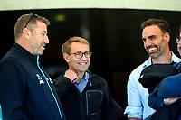 Black Caps manager Mike Sandle (left) and NZ Cricket high performance general manager Bryan Stronach (right) chat with NZ Director-General of Health Ashley Bloomfield (centre) during the 5th international men's T20 cricket match between the New Zealand Black Caps and Australia at Sky Stadium in Wellington, New Zealand on Sunday, 7 March 2021. Photo: Dave Lintott / lintottphoto.co.nz