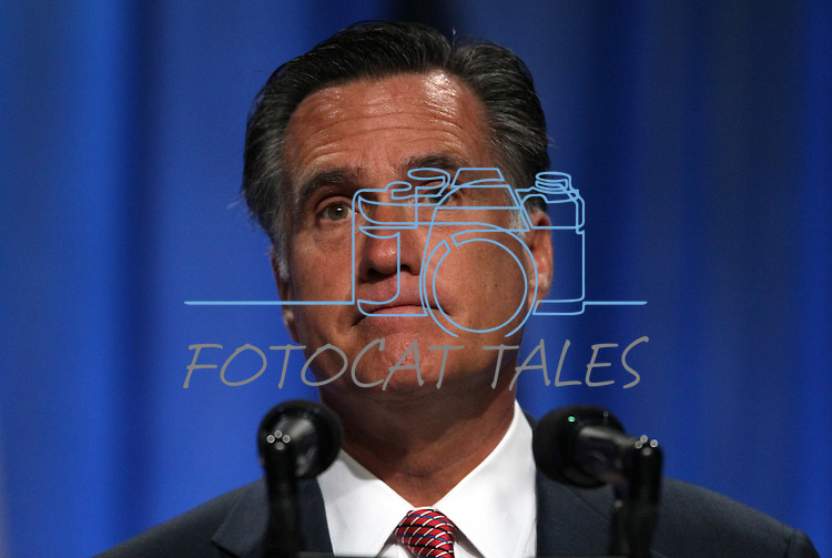Republican presidential candidate Mitt Romney speaks at the 134th National Guard Association of the United States national convention in Reno, Nev., on Tuesday, Sept. 11, 2012..Photo by Cathleen Allison