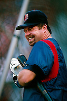 Ron Coomer of the Minnesota Twins during a baseball game at Edison International Field during the 1998 season in Anaheim, California. (Larry Goren/Four Seam Images)