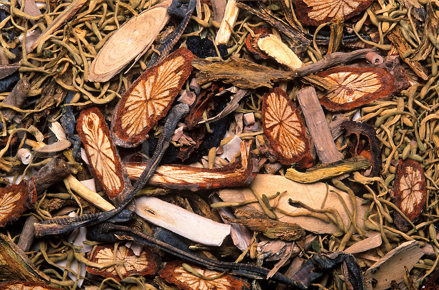 Herbs and roots used iin making medicinal Chinese tea.