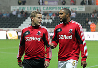 Pictured L-R: Mark Gower and Ashley Williams of Swansea. Tuesday 28 August 2012<br /> Re: Capital One Cup game, Swansea City FC v Barnsley at the Liberty Stadium, south Wales.