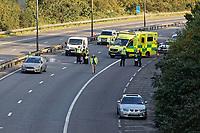 2020 09 21 Police on the M4 motorway, Near Swansea, Wales, UK