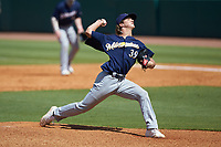 Jackson Jobe (39) of Heritage Hall in Oklahoma City, OK playing for the Milwaukee Brewers scout team during the East Coast Pro Showcase at the Hoover Met Complex on August 3, 2020 in Hoover, AL. (Brian Westerholt/Four Seam Images)