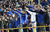 BOGOTÁ-COLOMBIA, 26–01-2020: Hinchas de Millonarios durante partido entre Millonarios y Deportivo Pasto de la fecha 1 por la Liga BetPlay DIMAYOR 2020 jugado en el estadio Nemesio Camacho El Campín de la ciudad de Bogotá. / Fans of Millonarios during a match between Millonarios and Deportivo Pasto of the 1st date for the BetPlay DIMAYOR Leguaje I 2020 played at the Nemesio Camacho El Campin Stadium in Bogota city, Photo: VizzorImage / Luis Ramírez / Staff.