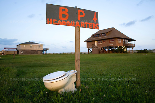 Grand Isle, Louisiana.June 13, 2010..Mocking sign erected by local resident as part of community response to the BP Deepwater Horizon oil spill. .