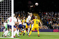 Steph Houghton of England Women heads clear during the Women's international friendly match between England Women and Australia at Craven Cottage, London, England on 9 October 2018. Photo by Carlton Myrie / PRiME Media Images.