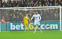 Pictured: Friday 26 December 2014<br /> Re: Premier League, Swansea City FC v Aston Villa at the Liberty Stadium, Swansea, south Wales, UK.<br /> <br /> Swansea's Lukasz Fabianski and Ashley Williams