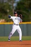 Lakeland Flying Tigers shortstop Casey Frawley (10) throws to first base during a game against the Brevard County Manatees on April 20, 2016 at Henley Field in Lakeland, Florida.  Lakeland defeated Brevard County 5-2.  (Mike Janes/Four Seam Images)