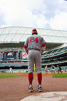 C.J. Cron #24 of the Utah Utes waits in the on deck circle during the game against the Texas A&M Aggies at Minute Maid Park on March 4, 2011 in Houston, Texas.  Photo by Brian Westerholt / Four Seam Images