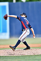 Rome Braves starting pitcher Ian Anderson (19) delivers a pitch during a game against the Asheville Tourists at McCormick Field on June 9, 2017 in Asheville, North Carolina. The Braves defeated the Tourists 2-0. (Tony Farlow/Four Seam Images)
