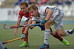 GER - Mannheim, Germany, October 02: During the men hockey match between Mannheimer HC (red) and HTC Uhlenhorst Muehlheim (white) on October 2, 2016 at Mannheimer HC in Mannheim, Germany. Final score 4-4 (HT 1-3). (Photo by Dirk Markgraf / www.265-images.com) *** Local caption *** Ferdinand Weinke #4 of HTC Uhlenhorst Muehlheim