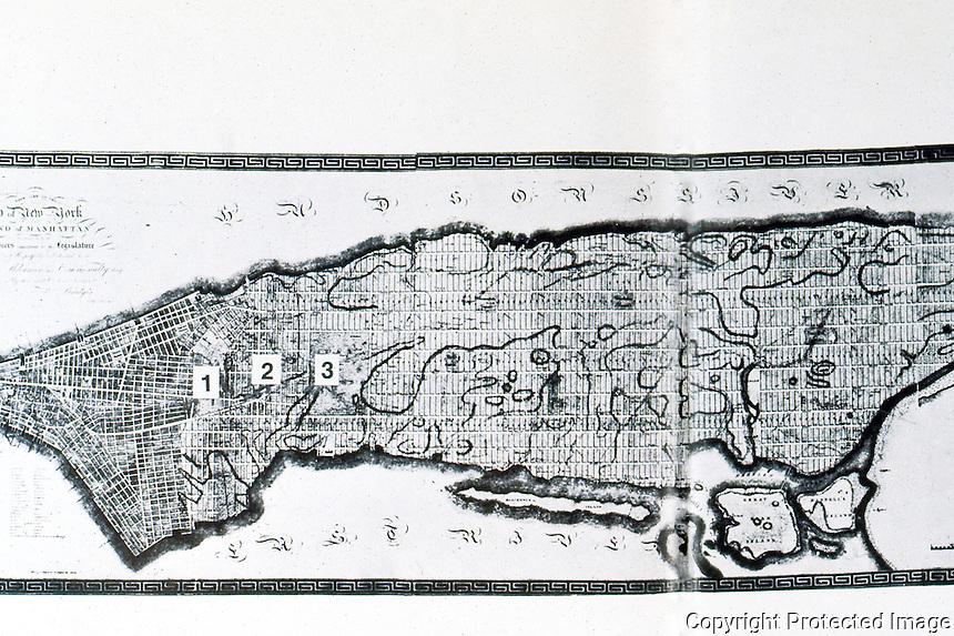 Utopia:  New York, Plan of 1811. 1,2,3,:  Proposed Washington, Union, Madison Squares. Choay, THE MODERN CITY.