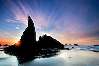 Sea stacks and sunset at Bandon Beach at low tide. Oregon