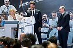 Madrid Mayor Manuela Carmena and Real Madrid's president Florentino Perez and Sergio Ramos at Crystal Gallery of the Palacio de Cibeles in Madrid, May 22, 2017. Spain.<br /> (ALTERPHOTOS/BorjaB.Hojas)