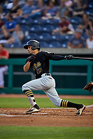 West Virginia Black Bears designated hitter Fabricio Macias (59) grounds out during a game against the State College Spikes on August 30, 2018 at Medlar Field at Lubrano Park in State College, Pennsylvania.  West Virginia defeated State College 5-3.  (Mike Janes/Four Seam Images)