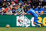 Takashi Inui of SD Eibar (L) in action against Portillo Soler of Getafe CF (R) during the La Liga 2017-18 match between Getafe CF and SD Eibar at Coliseum Alfonso Perez Stadium on 09 December 2017 in Getafe, Spain. Photo by Diego Souto / Power Sport Images