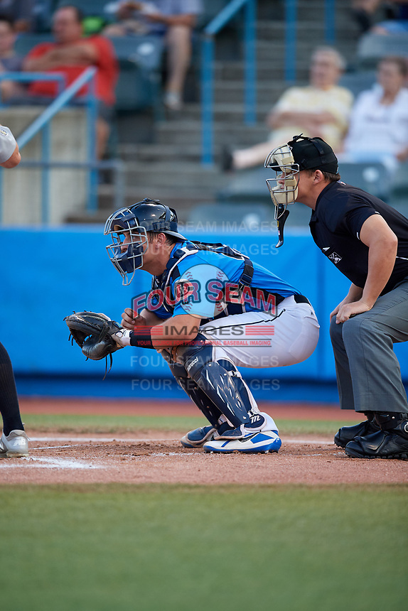 Hudson Valley Renegades catcher Chris Betts (26) waits to receive a pitch in front of home plate umpire Jordan Sandberg during a game against the Tri-City ValleyCats on August 24, 2018 at Dutchess Stadium in Wappingers Falls, New York.  Hudson Valley defeated Tri-City 4-0.  (Mike Janes/Four Seam Images)
